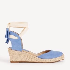 Ann Taylor Blue Cally Suede Espadrille Wedges